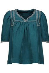 Isabel Marant Livia Pleated Embellished Embroidered Silk Top Emerald