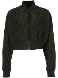 Yohji Yamamoto Cropped Bomber Jacket Women Polyurethane Cupro Triacetate 3 Black