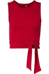 Live The Process Ballet Cropped Tie Front Stretch Supplex Top Red