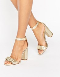 Miss Kg Flounce Gold Bow Heeled Sandals Gold