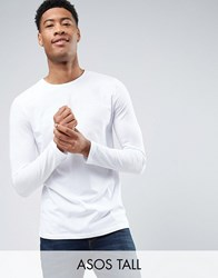 Asos Tall Long Sleeve T Shirt With Crew Neck White