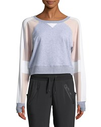 Blanc Noir Flashback Colorblock Cropped Sweatshirt Gray Pink
