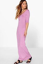 Boohoo 3 4 Sleeve Scoop Neck Maxi Dress Mauve