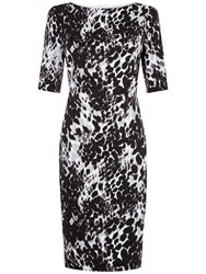 Fenn Wright Manson Petite Athena Animal Print Dress Black Ivory