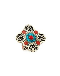 Devon Leigh Coral And Turquoise Adjustable Flower Ring Multi