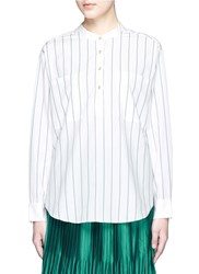 Mo And Co. Mock Neck Stripe Shirt White
