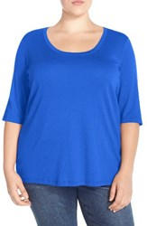 Sejour Plus Size Women's Elbow Sleeve Scoop Neck Tee Blue Mazarine