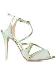Francesca Mambrini Strapped Sandals Women Leather Suede 39 Green