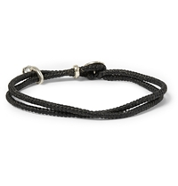 Paul Smith Silver Skull Waxed Cotton Wrap Bracelet Black