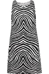 Milly Zebra Print Stretch Cotton Mini Dress Zebra Print