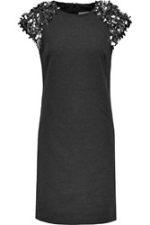 Michael Michael Kors Embellished Stretch Jersey Mini Dress Gray