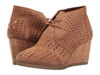 Toms Desert Wedge Bootie Toffee Suede Perforated Leaf Women's Wedge Shoes Brown