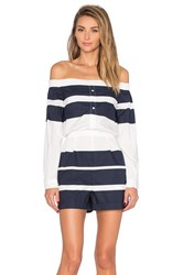 Derek Lam Off The Shoulder Romper Navy