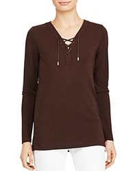 Ralph Lauren Lace Up Jersey Tunic Circuit Brown
