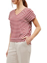 Jaeger Striped Jersey Top Red Neutral