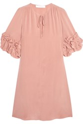 See By Chloe Ruffled Silk Mini Dress Blush
