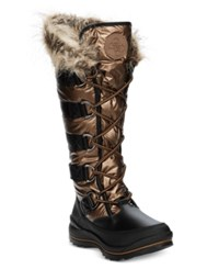 Guess Women's Hadly Lace Up Cold Weather Boots Women's Shoes Bronze Black