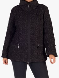 Chesca Bonfire Embroidered Quilted Coat Black