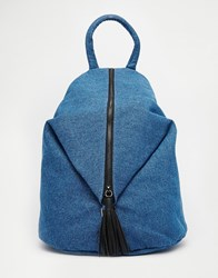 Asos Front Zip Backpack With Dog Clip And Tassel Blue