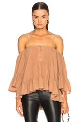 Icons Bare Shoulder Peasant Top In Neutrals