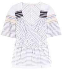 Peter Pilotto Tone Smocked Cotton And Silk Top White