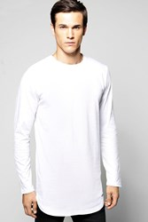 Boohoo Sleeve Longline Scoop Hem T Shirt White