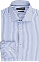 Ralph Lauren Black Label Striped Dress Shirt Blue Size 17.5