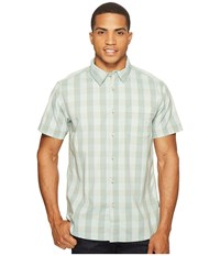 The North Face Short Sleeve Voyager Shirt Laurel Wreath Green Plaid Men's Short Sleeve Button Up Blue