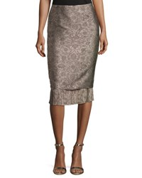 Max Mara Panfilo Pencil Skirt W Pleated Hem Beige