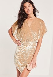 Missguided Velvet Kimono Sleeve Wrap Dress Nude Cream