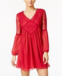 Amy Byer Bcx Juniors' Lace Trim Peasant Dress Berry