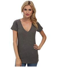 Lna S S Deep V Heather Grey Women's T Shirt Gray