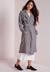 Missguided Draped Lightweight Trench Coat Grey