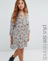 Koko Plus Shirt Dress With Pleated Back Cream Floral