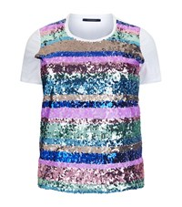 Marina Rinaldi Sequin Stripe T Shirt White