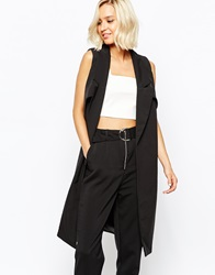 Lavish Alice Cold Shoulder Duster Coat Black
