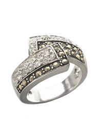 Lord And Taylor Sterling Silver And Marcasite Crystal Bypass Ring