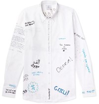 Vetements Oversized Button Down Collar Printed Cotton Poplin Shirt White