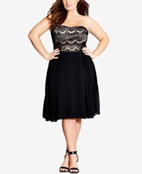 City Chic Plus Size Strapless Fit And Flare Eyelash Dress Black