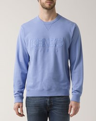 Kenzo Blue Lavender Dual Fabric Crew Neck Sweater