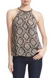 Joie Women's Francis Embellished Print Halter Style Silk Top