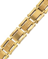 Macy's Men's Single Cut Diamond Bracelet In Stainless Steel And Yellow Ion Plated 1 10 Ct. T.W.