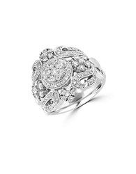 Effy Pave Classica Diamond And 14K White Gold Filigree Ring 1.1 Tcw