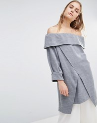 House Of Sunny Off Shoulder Top Grey