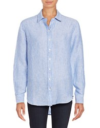 Lord And Taylor Plus Striped Linen Button Down Shirt Blue