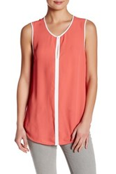 Susina Sleeveless Contrast Trim Blouse Pink