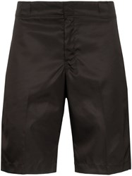 Prada Logo Plaque Bermuda Shorts Black