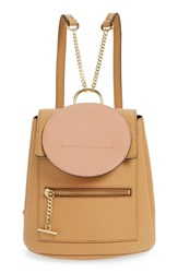 Danielle Nicole Theo Mini Faux Leather Backpack Beige Camel Combo