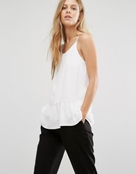 Selected Hollie Peplum Strappy Top White