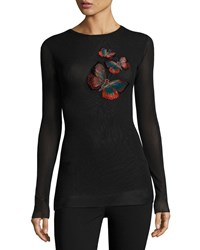 Fuzzi Long Sleeve Top W Butterfly Embroidery Black